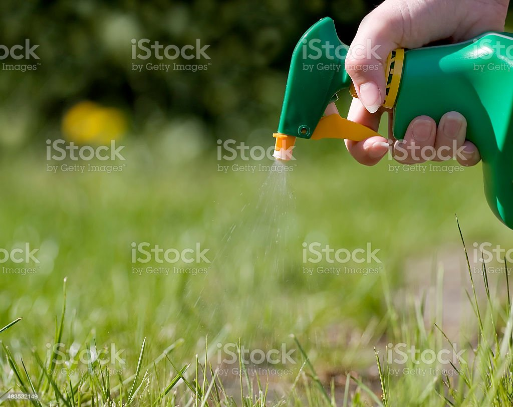 Spraying the grass royalty-free stock photo