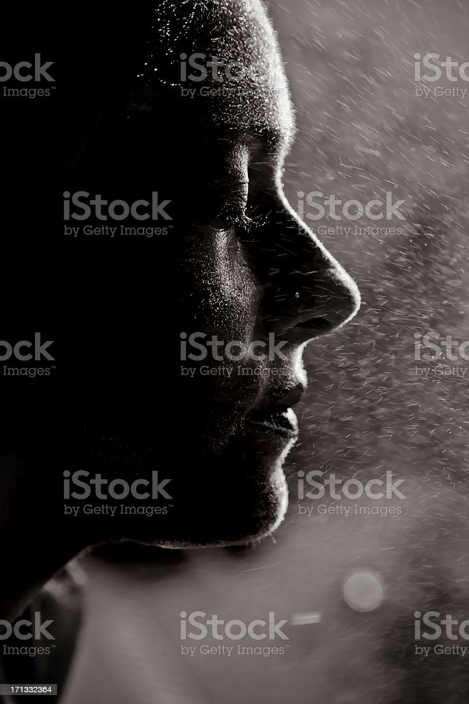 Spraying water on face royalty-free stock photo