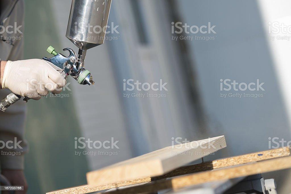 spraying wood royalty-free stock photo