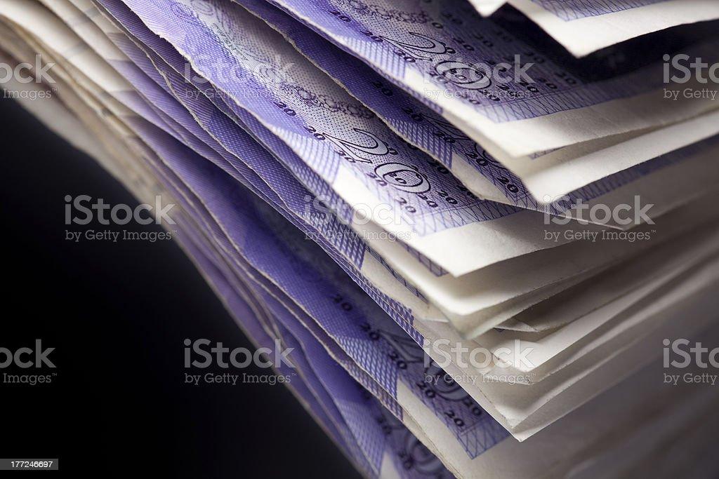 Spread Corners Of UK Twenty Pound Notes royalty-free stock photo