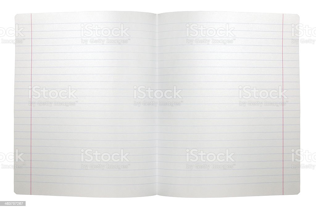 Spread double sheet, open seamless lined note paper background isolated stock photo