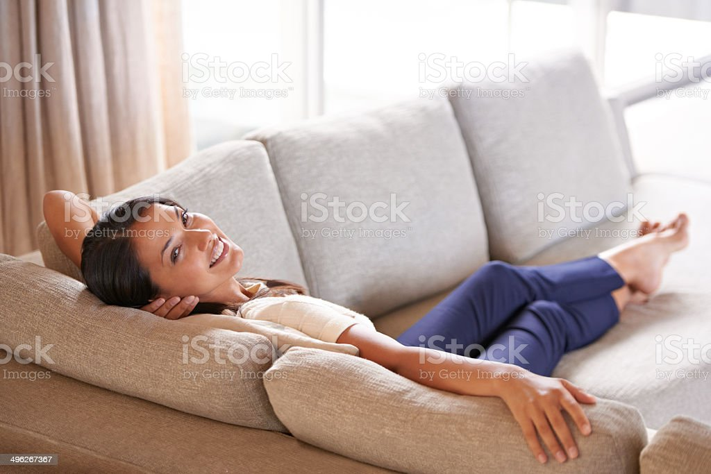 Spread out and ready to relax... stock photo