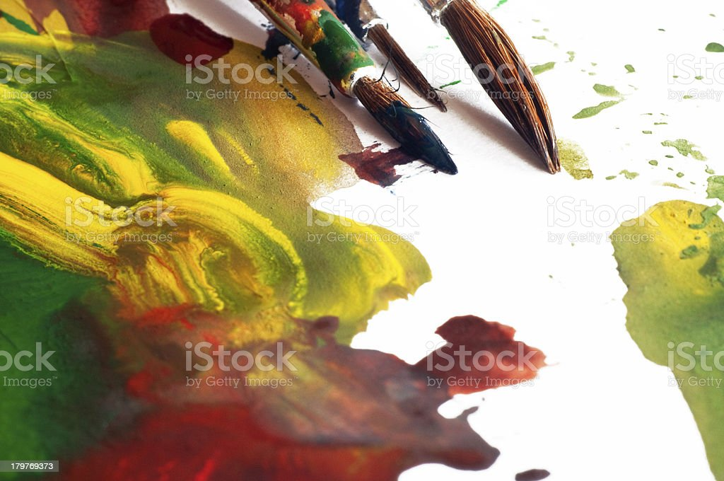 Spread Paint and Brushes royalty-free stock photo
