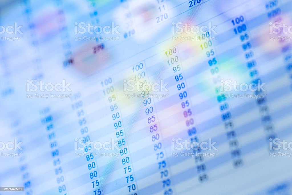 spread sheet data show on tablet stock photo