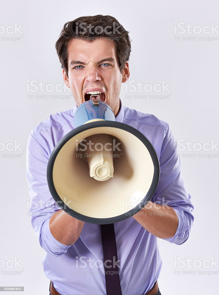 Spread your word with conviction stock photo