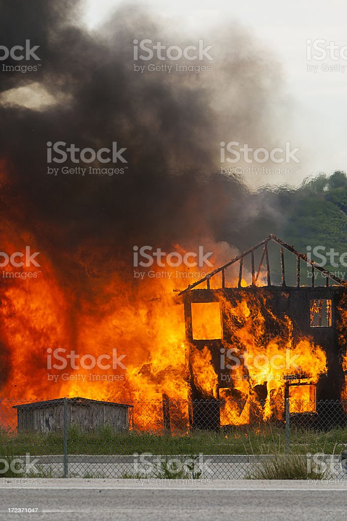 Spreading House Fire stock photo