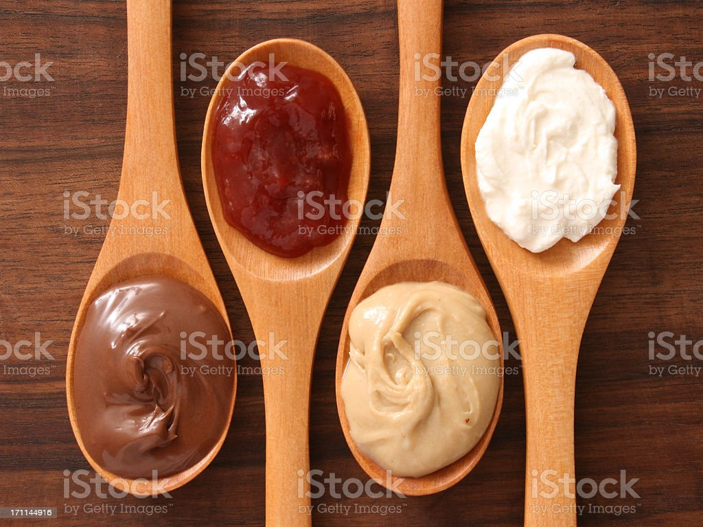 Spreads and spoons stock photo