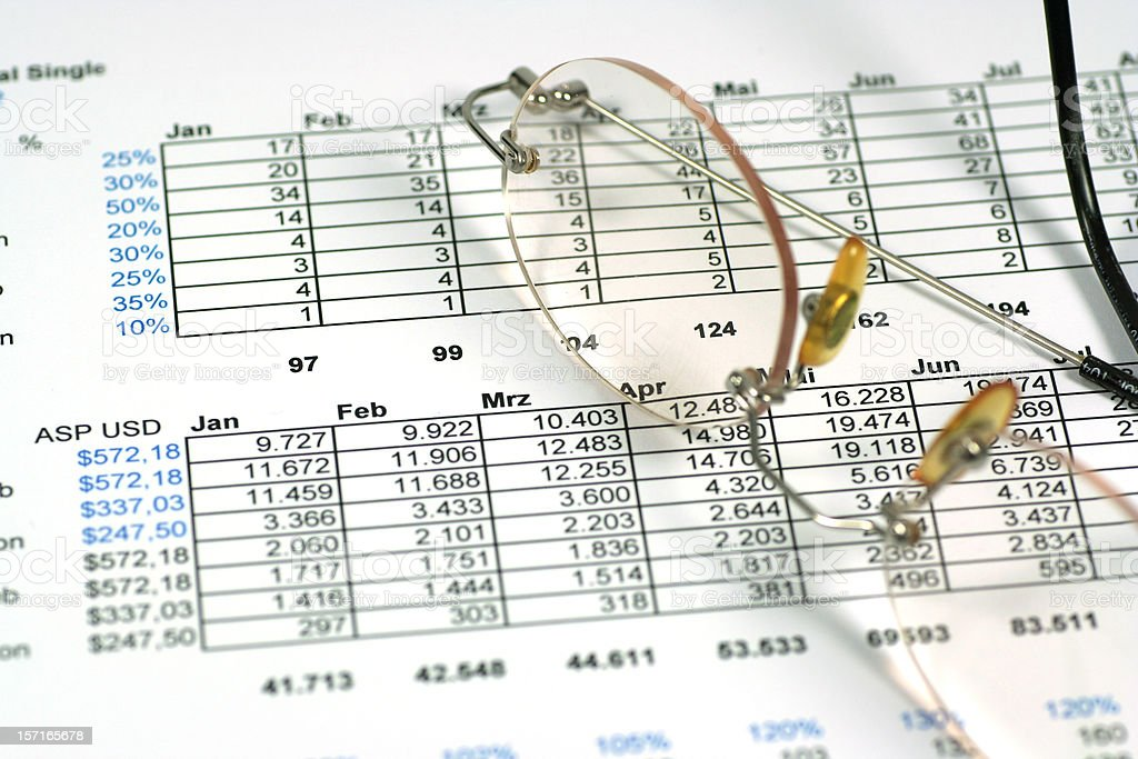 Spreadsheet calculation royalty-free stock photo