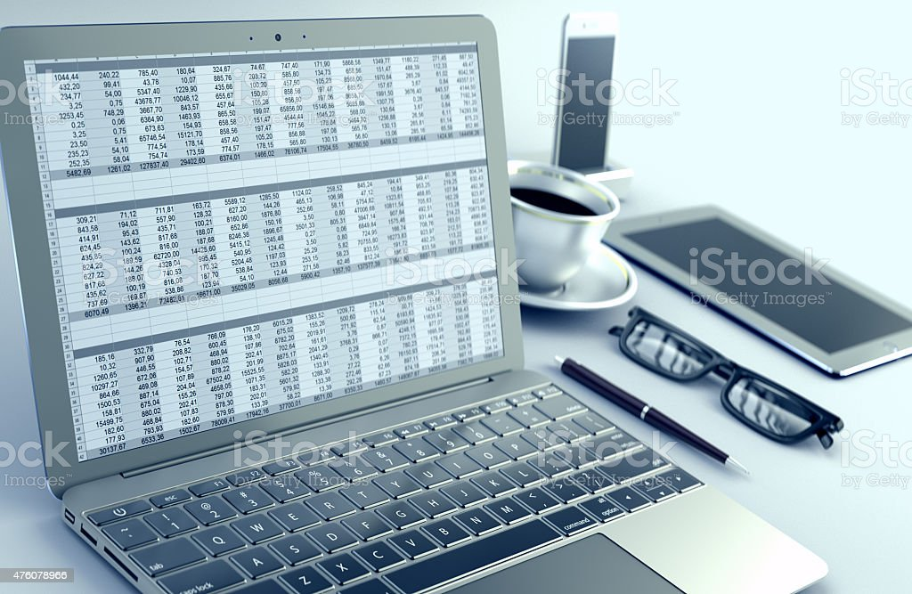Spreadsheet in Laptop stock photo