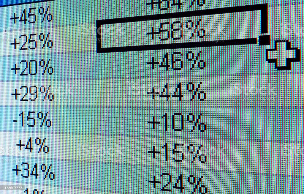Spreadsheet on a computer screen stock photo