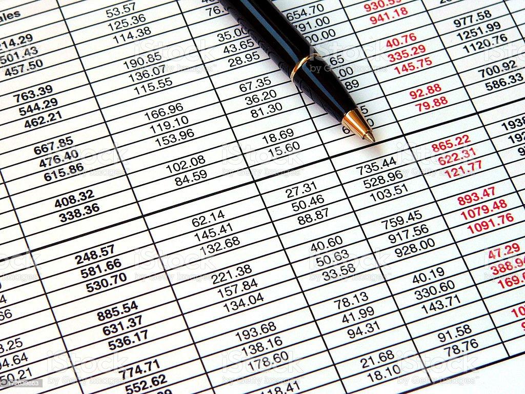 Spreadsheet royalty-free stock photo
