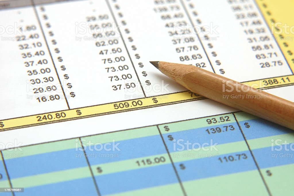 Spreadsheet royalty-free stock photo