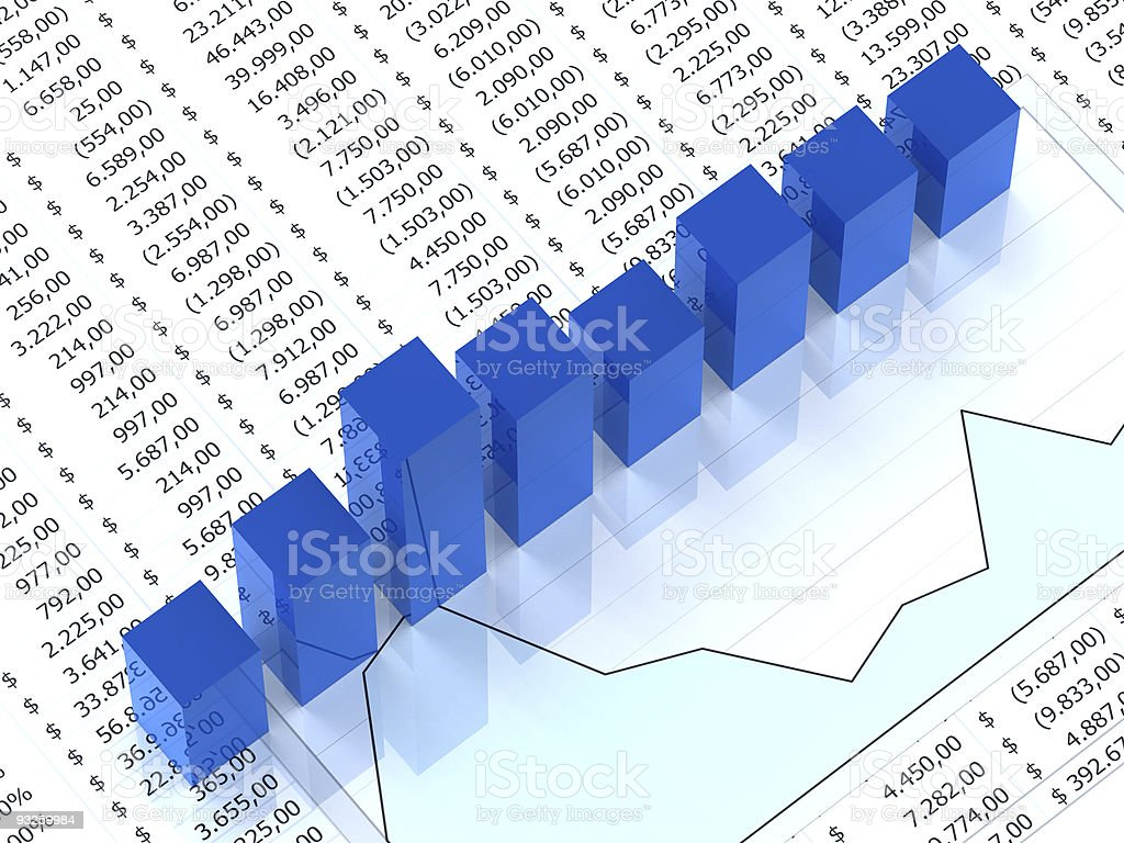 Spreadsheet with blue graph royalty-free stock photo
