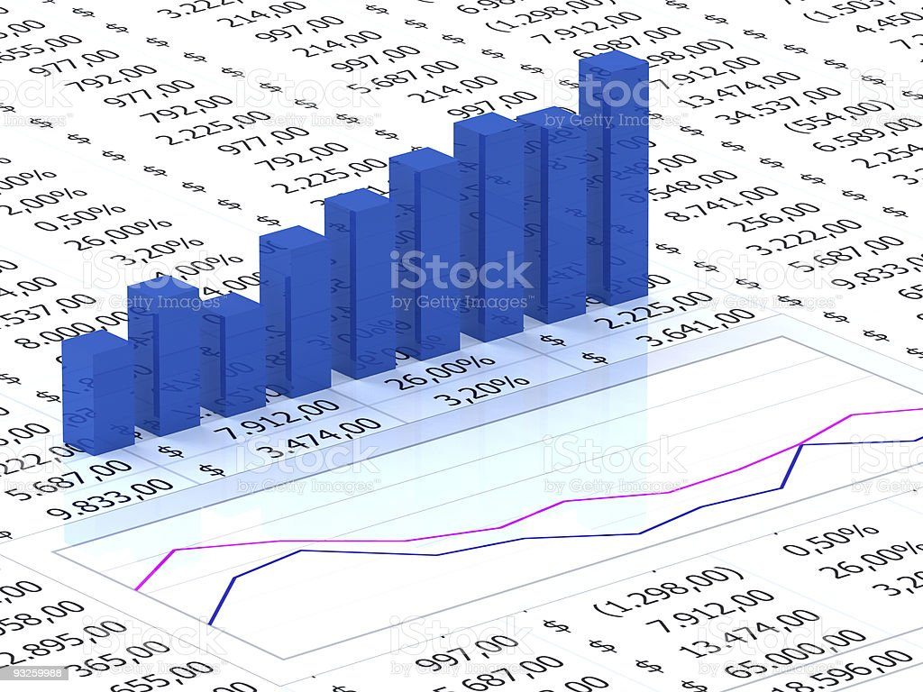 Spreadsheet with blue graph royalty-free stock vector art