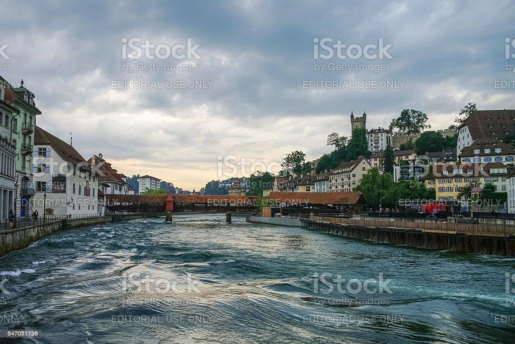 Spreuer bridge (Spreuerbruecke)  in the old city center of Lucerne stock photo