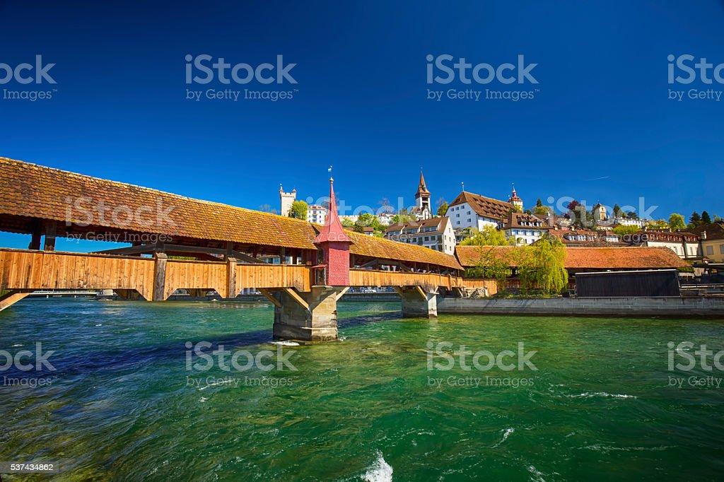 Spreuer bridge in the old city center of Luzern. stock photo