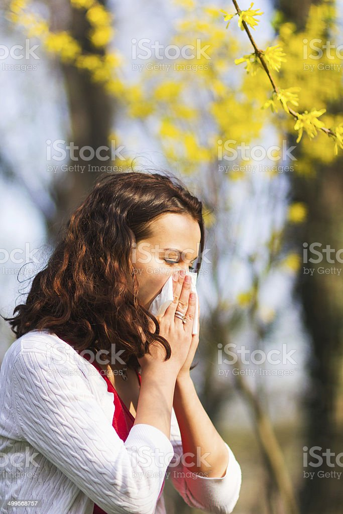 Spring allergy to flowers stock photo