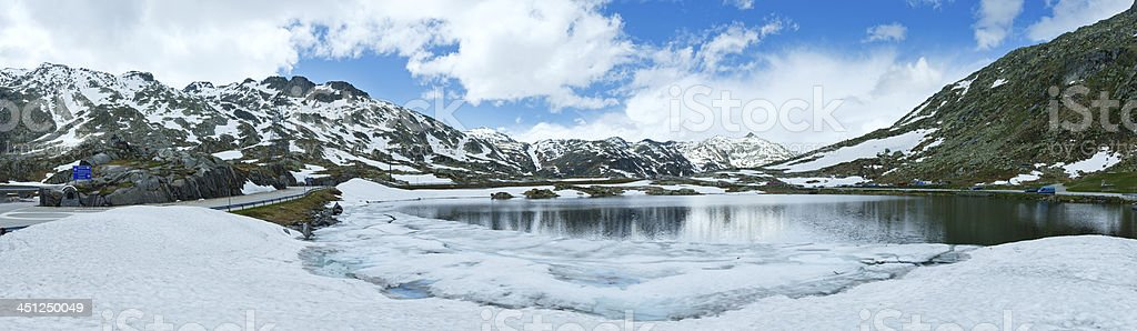 Spring Alps mountain lake panorama  (Switzerland) stock photo