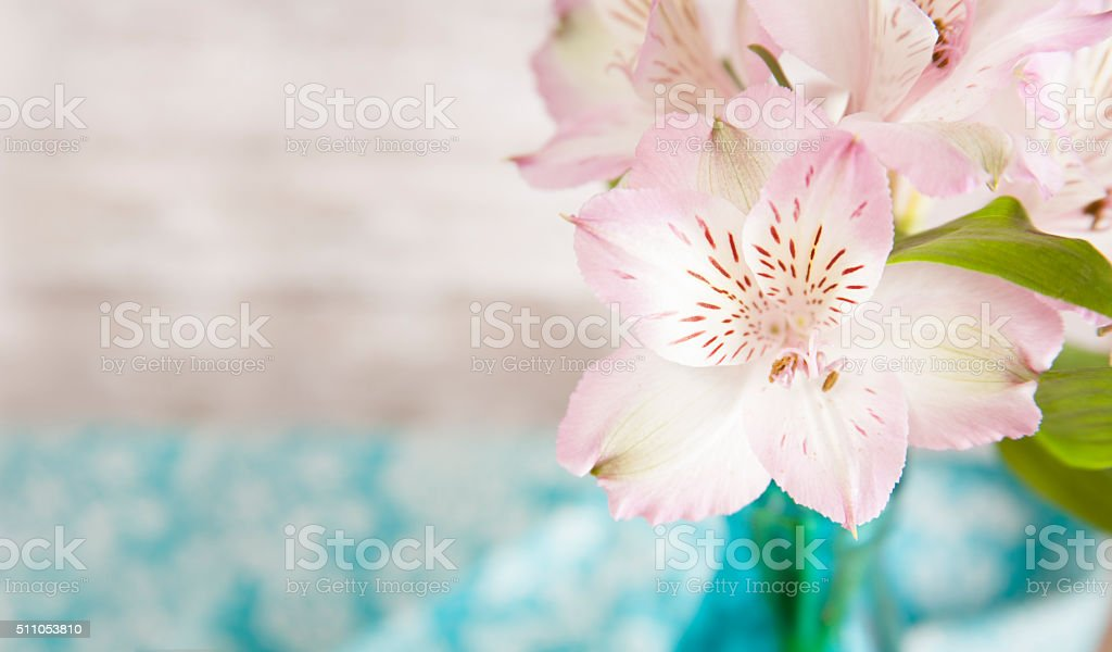 Spring Alstroemeria flowers on restaurant table. Mother's Day. stock photo