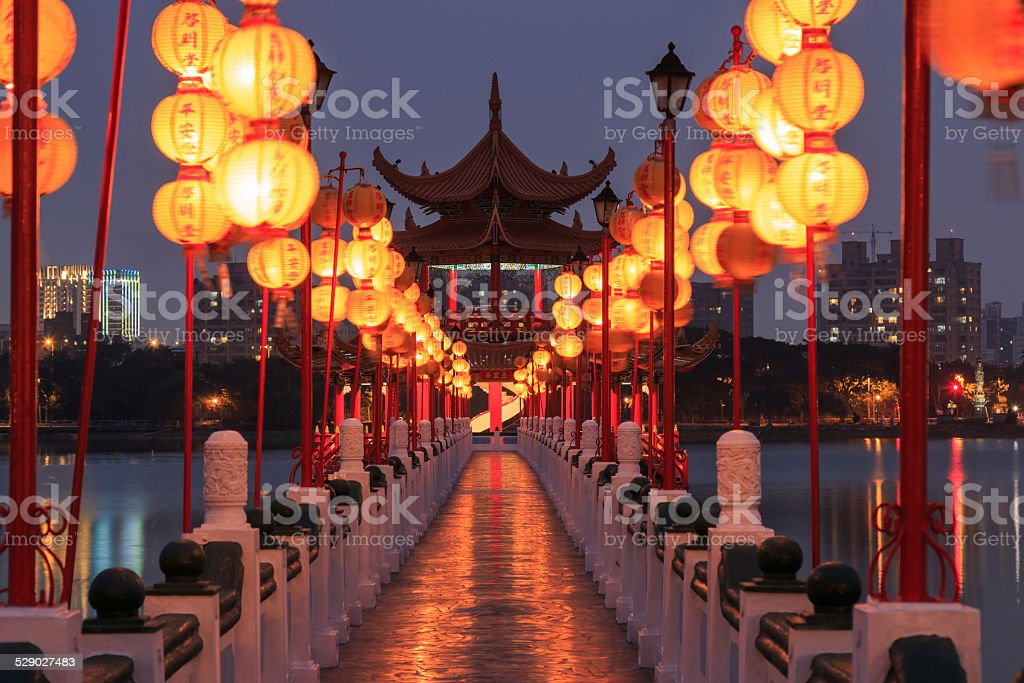 Spring and Autumn Pavilions, Lotus Pond, Kahosiung stock photo