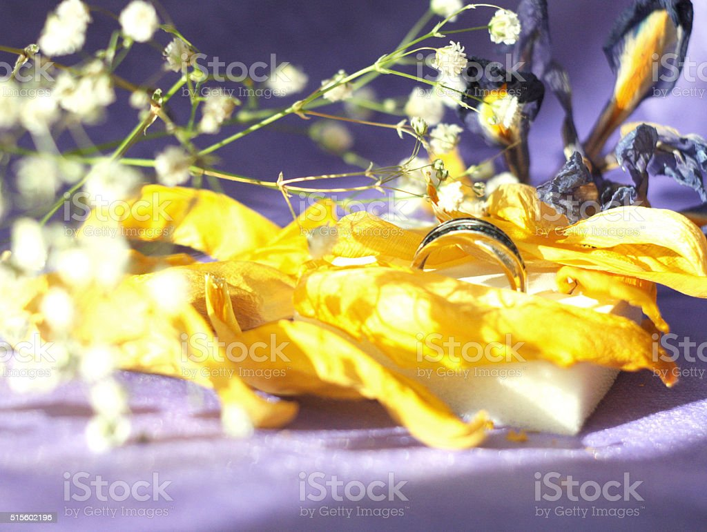 Spring and sapphire crystal still life stock photo