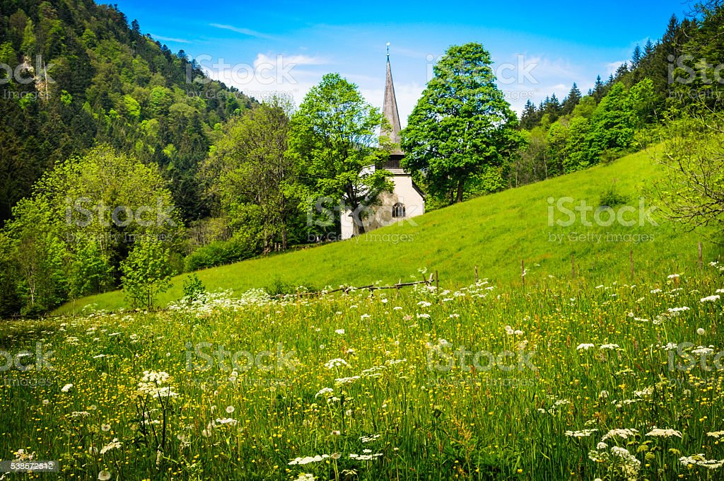 Spring at a Black Forest Chapel stock photo