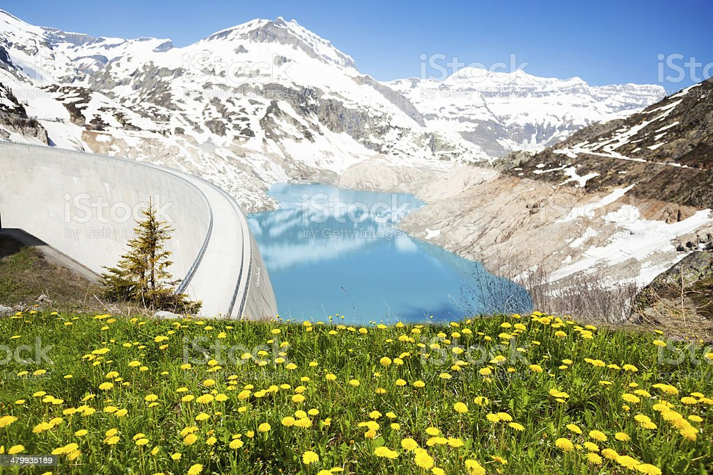 Spring at Emosson Dam royalty-free stock photo