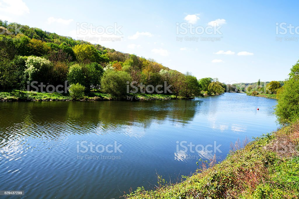Spring at river Ruhr stock photo