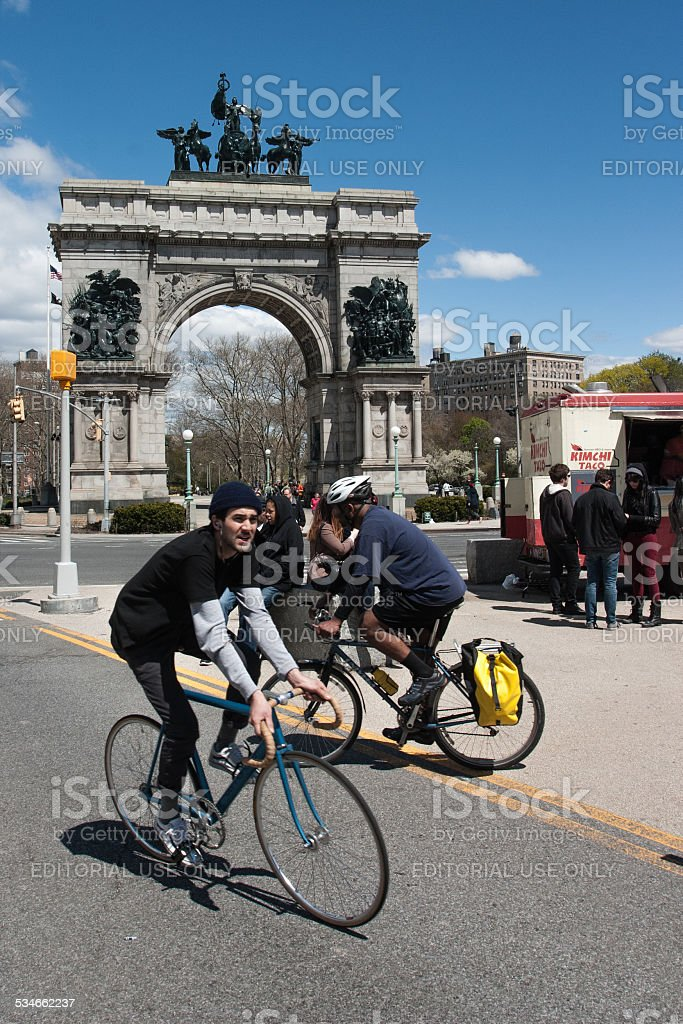 Spring Bike Ride in Brooklyn's Prospect Park stock photo