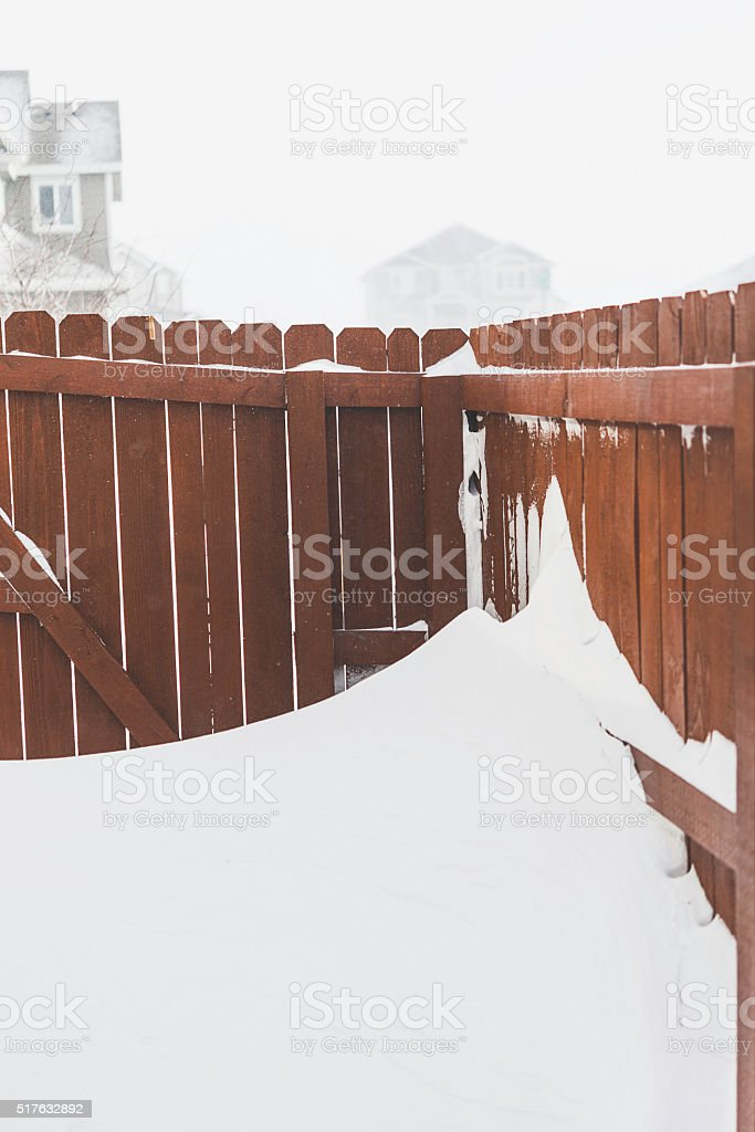Spring blizzard with high winds causing snow drifts. Colorado, USA stock photo