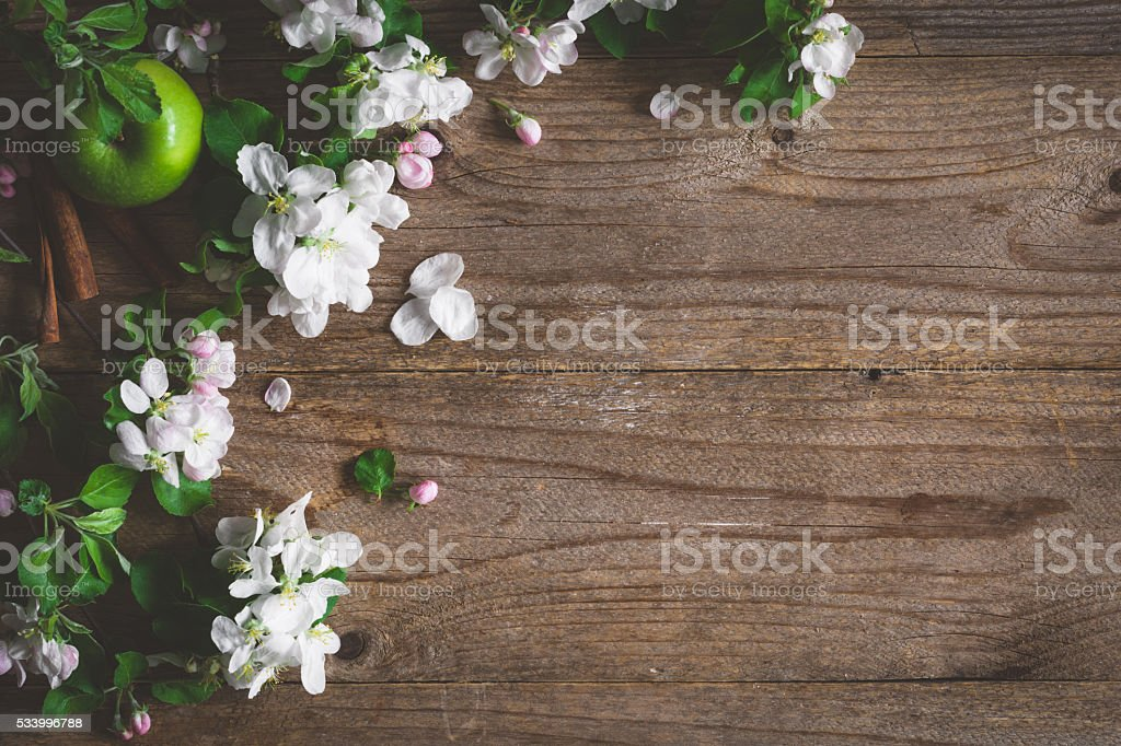 Spring blossoms on wooden background with copy space stock photo