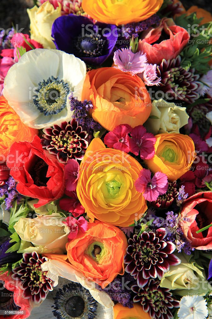 Spring bouquet in bright colors stock photo