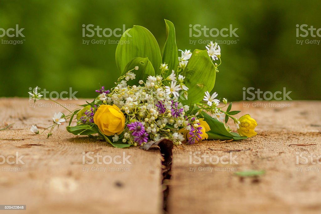 Spring bouquet of wildflowers stock photo