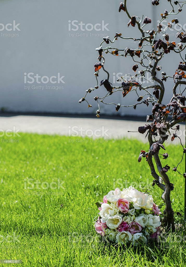 Spring bouquet with double tulips stock photo