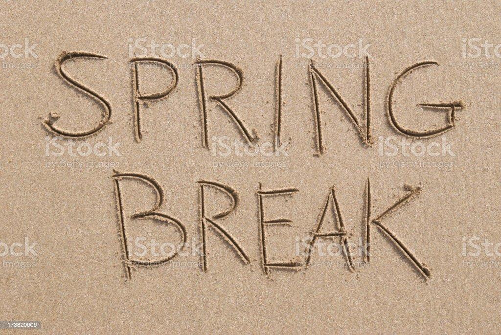 Spring Break Beach Message Handwritten in Clean Sand royalty-free stock photo