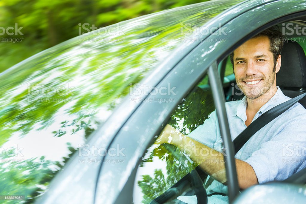 Spring break; driving in a forest stock photo