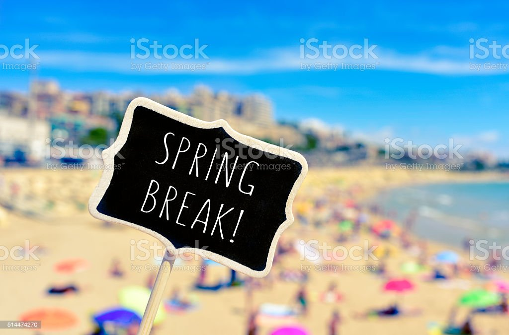 spring break in a black signboard on the beach stock photo
