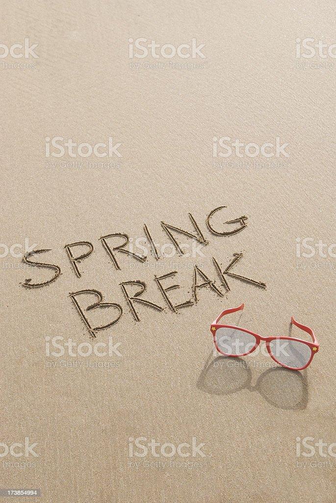 Spring Break Sunglasses on Sand royalty-free stock photo