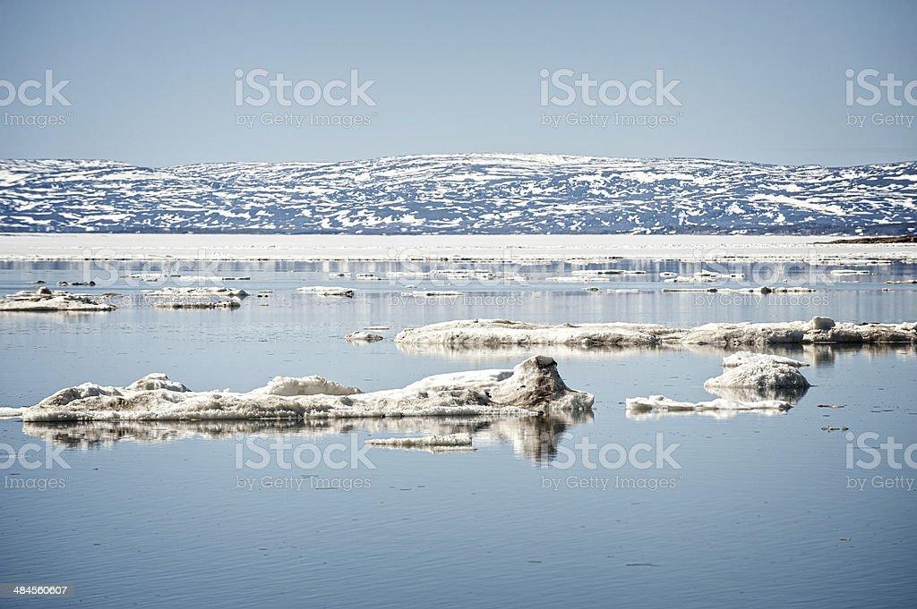 Spring Break Up of Frobisher Bay, Nunavut, Canada. stock photo
