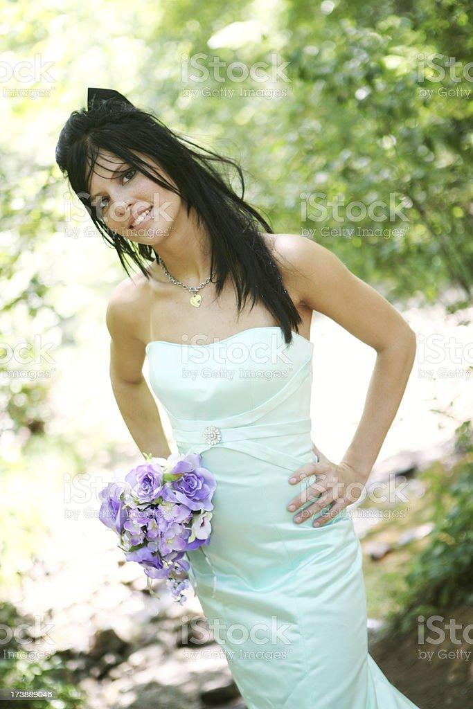 spring bride in green stock photo