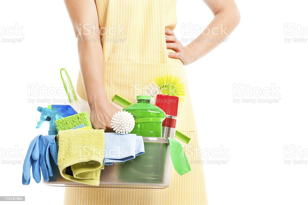 Spring Cleaning Caddy Kit with Tools and Cleanser Products Hz royalty-free stock photo