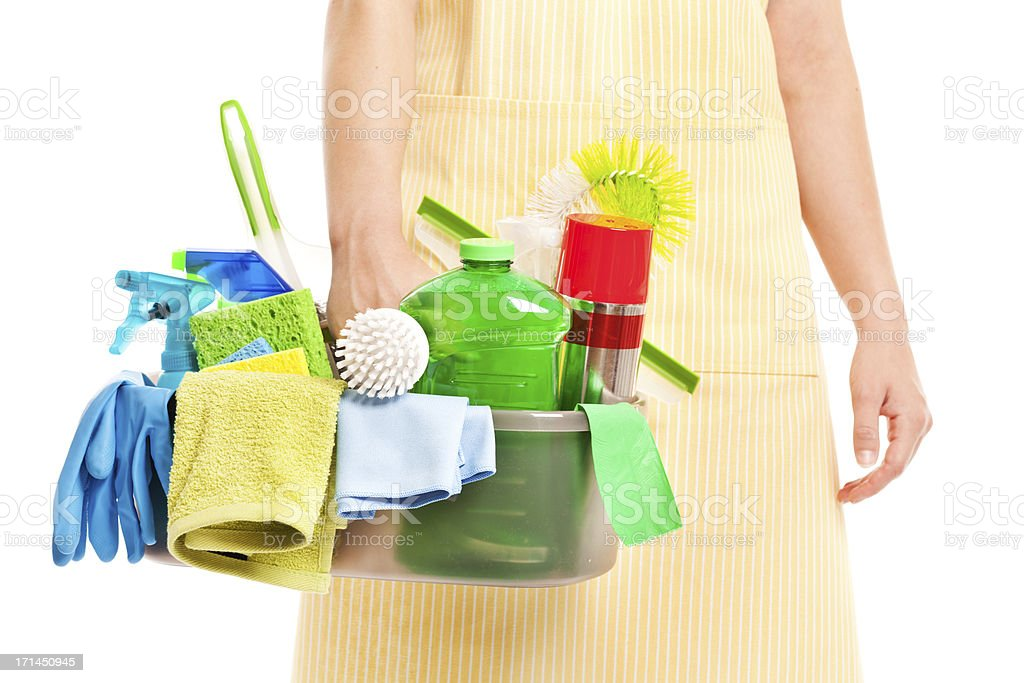Spring Cleaning Caddy Kit with Tools and Cleansers stock photo