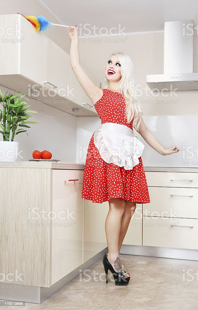 Spring cleaning in the kitchen royalty-free stock photo