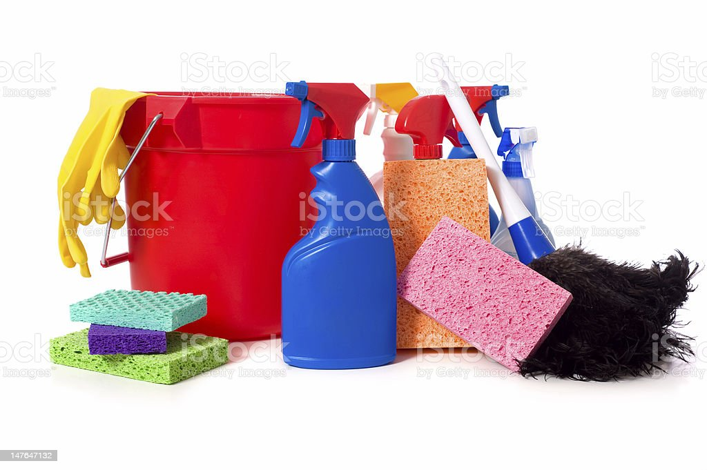Spring Cleaning Supplies royalty-free stock photo