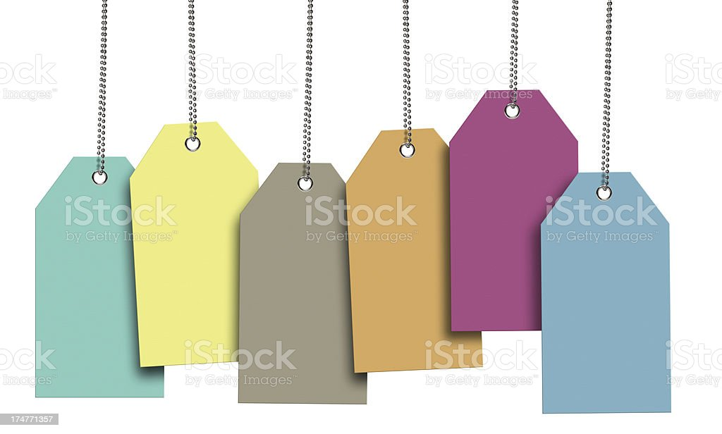 Spring Color Blank Tags (Clipping Path) stock photo