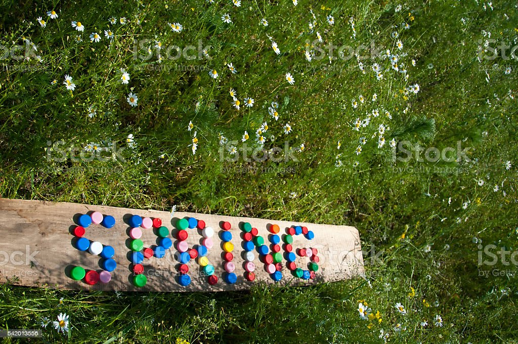 Spring composed with plastic caps on wooden board stock photo