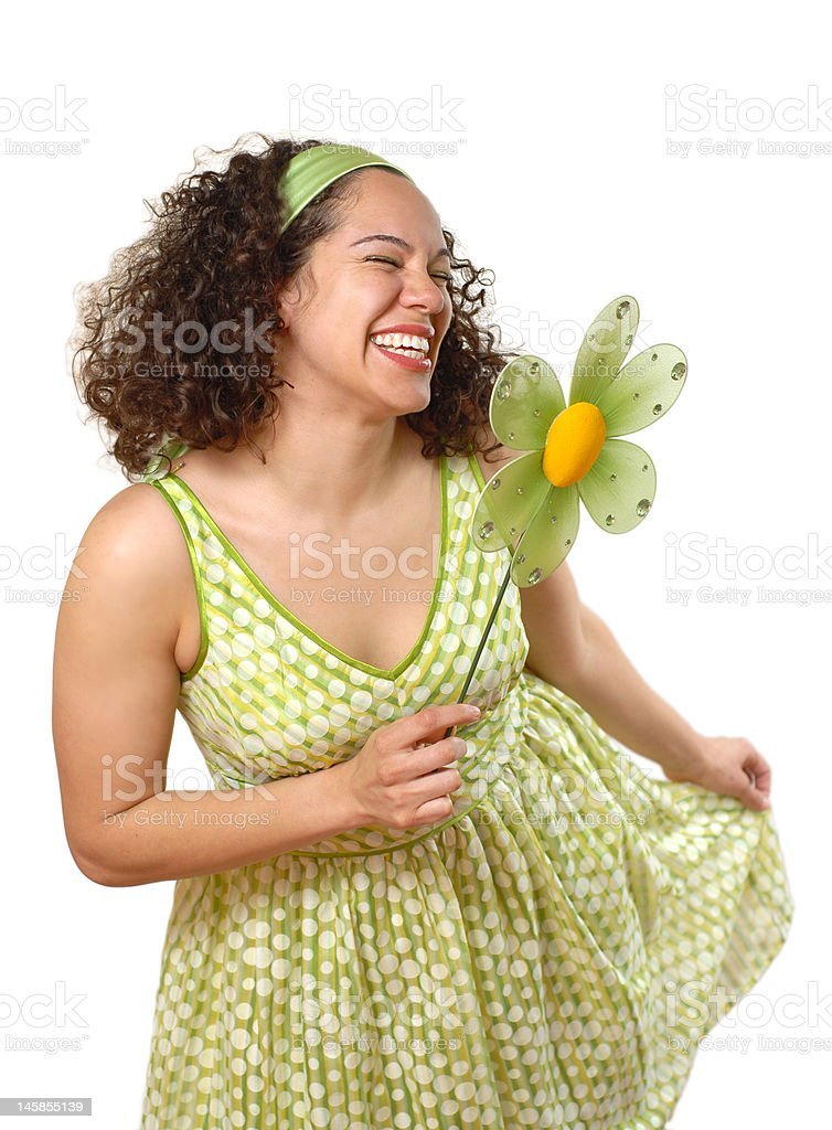 Spring curtsy with a flower royalty-free stock photo