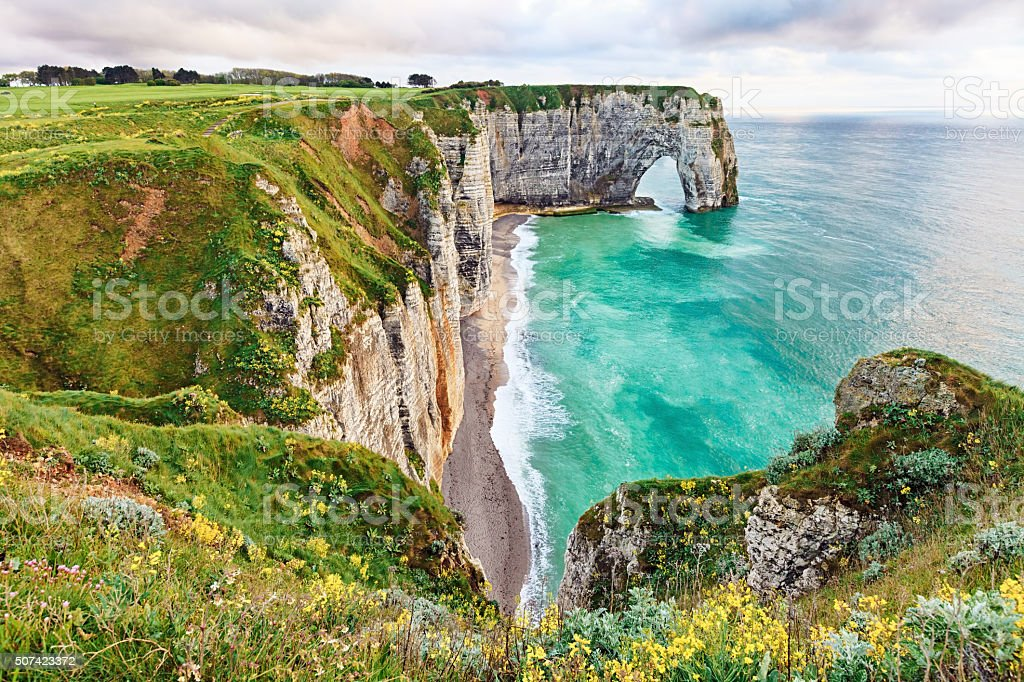 Spring Etretat, Normandy, France stock photo