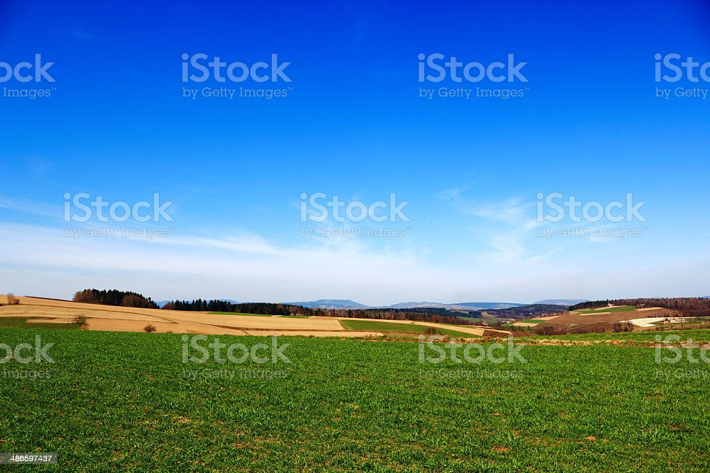 Spring.  Farm field in Beskidy Mountains. Poland. stock photo