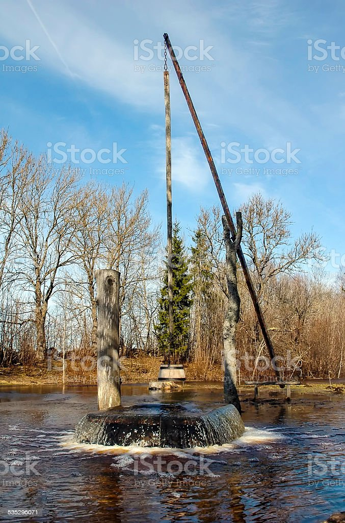 Spring flood, boiling Witch well stock photo